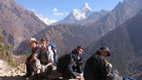 Resting during a school trek in Nepal |  <i>Greg Pike</i>
