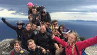 School group on top of Bishop & Clerk on Maria Island |  <i>Holly Van De Beek</i>